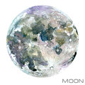 Moon. Moon Watercolor Background. Royalty Free Stock Photo - 83426145