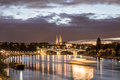 Night View Of Rhine River With Basel Minster Stock Photography - 83429292