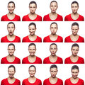 Mosaic Of Woman With Freckles Expressing Different Emotions Expressions. The Woman With Red T-shirt With 16 Different Emotions. Is Stock Photos - 83435243