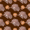 Seamless Pattern With Mammoths Royalty Free Stock Photo - 83437425