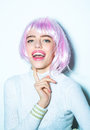 Pretty Girl In Pink Hair Wig Royalty Free Stock Photo - 83443555