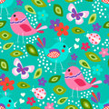 Cute Birds Seamless Pattern Royalty Free Stock Images - 83445729