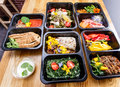 Healthy Food And Diet Concept, Restaurant Dish Delivery. Take Away Of Fitness Meal. Stock Photo - 83457590