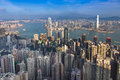 Aerial View, Hong Kong City Downtown Over Victoria Harbour Royalty Free Stock Image - 83465016
