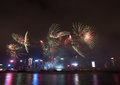 Fireworks In Hong Kong New Year Celebration 2017 At Victoria Harbor Stock Photography - 83472152