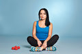 Athletic Girl With Muscle Body Sitting On Floor Stock Image - 83472441