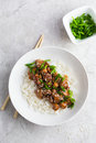 Teriyaki Chicken With Rice, Served With Sesame Seeds And Chopped Royalty Free Stock Photo - 83477445