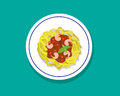 Spaghetti With Shrimps And Basil In Flat Style, Vector Stock Image - 83480141