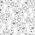 Vector Seamless Pattern With Outline Champagne Glass And Hearts In Black On The White Background. Pattern In Contour Style. Royalty Free Stock Photos - 83493668