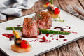 Delicate Medallions Of Veal With Vegetables Stock Photo - 83494930