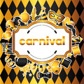Carnival Invitation Card With Gold Icons And Objects. Celebration Party Background Stock Photo - 83495580