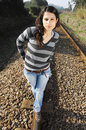 Walking On A Railway Track Stock Photography - 8357472