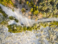 Aerial View Of Snowy Forest In Sunny Winter Day Stock Photo - 83506960