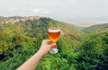 Glass Of Wine In Hand Of Tourist In Natural Landscape Of Green Alazani Valley, Georgia. Homemade Beverage Royalty Free Stock Photography - 83507927
