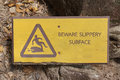 Beware Slippery Surface Sign Stock Photo - 83513390