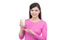 Portrait Of Pretty Smiley Asian Young Woman With Glass Of Milk Royalty Free Stock Photography - 83534127