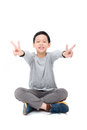 Young Boy Sitting And Smiles Over White Stock Images - 83543164