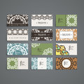 Set Of Vector Design Templates. Business Card With Monogram Circle Ornament. Mandala Style. Royalty Free Stock Image - 83587996