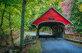 Red Covered Bridge Royalty Free Stock Image - 83594096