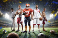 Multi Sports Proud Players Collage On Grand Arena Royalty Free Stock Photography - 83596297