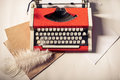 Red Vintage Typewriter With White Blank Paper Sheet Royalty Free Stock Images - 83607039