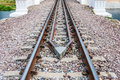 Guard Rail Of Railway Track On Concrete Bridge Royalty Free Stock Image - 83611796