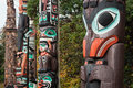 Colourful First Nations Totem Poles, Vancouver, BC, Canada Stock Photography - 83623982