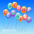 Store Closing Vector Illustration, Background With Balloons Royalty Free Stock Image - 83649916