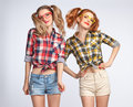 Fashion Funny Girl Jump Crazy Having Fun. Nerd Stock Photos - 83662333