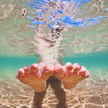 Bare Foot Child On Beach Vacation. Underwater Photo Stock Photography - 83667222