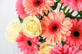 Pink Gerbera Flowers And White Roses Bouquet Stock Photography - 83699642