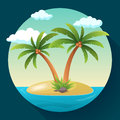 Summer Vacation Holiday Tropical Ocean Island With Palm Tree Flat Vector Illustration Royalty Free Stock Photography - 83722027