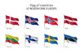 Flags Of Northern Europe Countries. Royalty Free Stock Image - 83732566