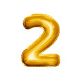 Balloon Number 2 Two 3D Golden Foil Realistic Alphabet Stock Photography - 83737122