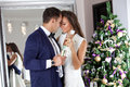 Young Couple In Love Celebrating Christmas. Royalty Free Stock Images - 83746909