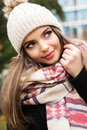 Pretty Teen Girl Is Wearing Warm Winter Clothes Royalty Free Stock Photography - 83748527