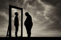 Fat Sad Man And His Reflection In Mirror Of A Normal Man Stock Images - 83750294