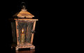 Old Wooden Lantern With A Burning Candle Isolated On Black Background. Stock Images - 83756234