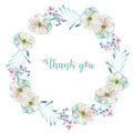 Circle Frame, Border, Wreath With Watercolor Tender Apple Tree Flowers And Leaves In Pastel Blue Shades Royalty Free Stock Photography - 83761557