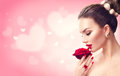 Valentine`s Day. Woman With Red Rose Stock Photography - 83765952
