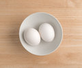 Two Eggs In A Bowl Atop A Wood Table Top. Royalty Free Stock Photo - 83772975