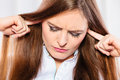 Stressed Woman With Closed Eyes Put Fingers In Ears, Stock Image - 83778081