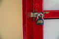 Part Of Red Box With A Latch And Lock. Royalty Free Stock Photography - 83802097