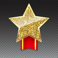 Golden Star With Gold Sparkles And Glitter On Red Ribbon Stock Images - 83813424