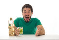 Man Looks Surprised At Bar Table. Stock Photography - 83814972