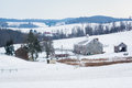 View Of A Snow Covered Farm And Rolling Hills, Near Shrewsbury, Royalty Free Stock Images - 83819169