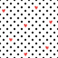 Polka Dot Seamless Pattern With Red Hearts. Stock Photo - 83823310