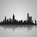 Black Silhouette Of New York City With Reflection. Vector Illustration Royalty Free Stock Photo - 83826935