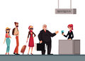 Line To Airport Check-in, Passenger And Baggage Registration Desk Royalty Free Stock Photography - 83827837
