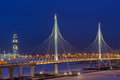 Express Roads Crosses River Icebound, Guyed Bridge At Night Ligh Royalty Free Stock Photos - 83827908